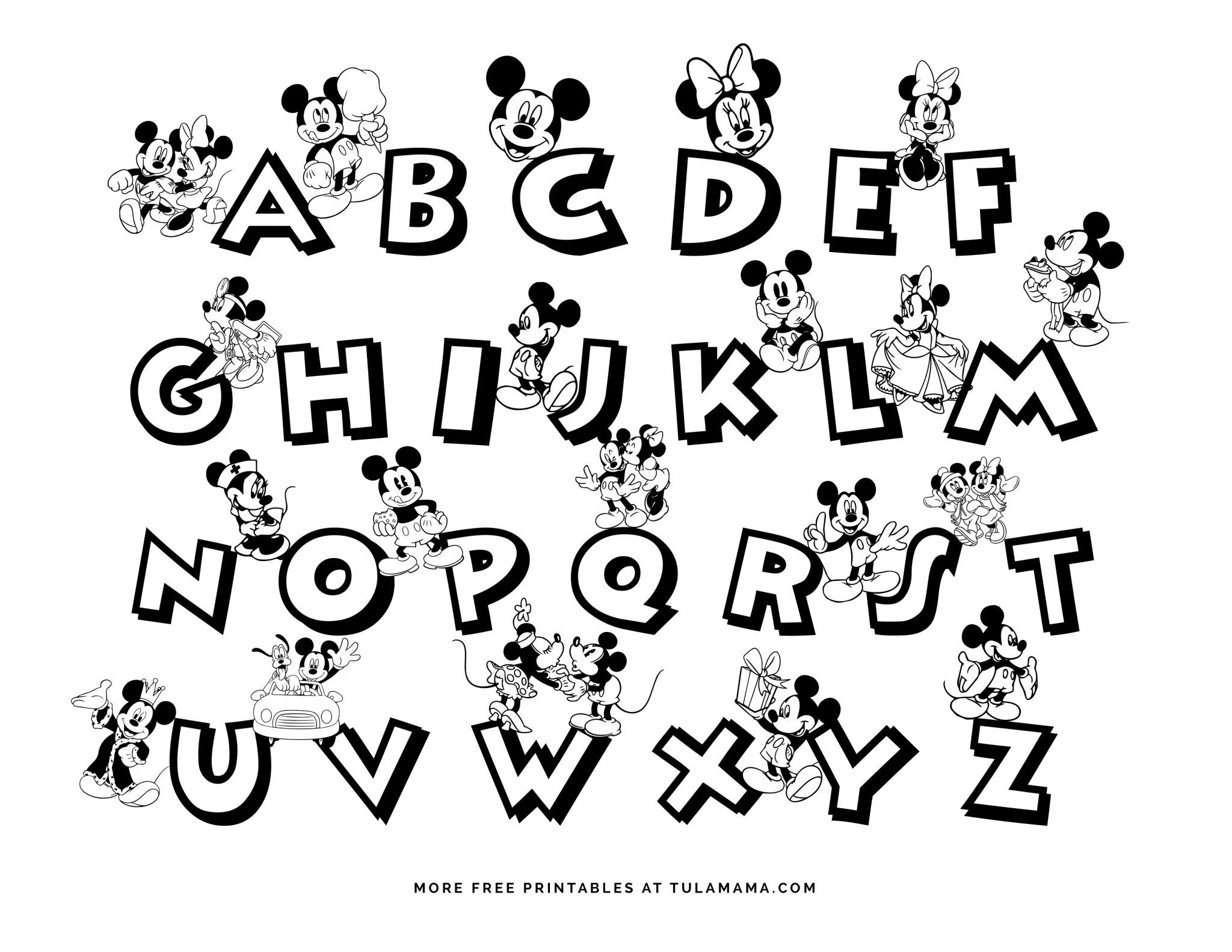 Free Printable Mickey Mouse Abc Coloring Pages [ 1583 x 2048 Pixel ]