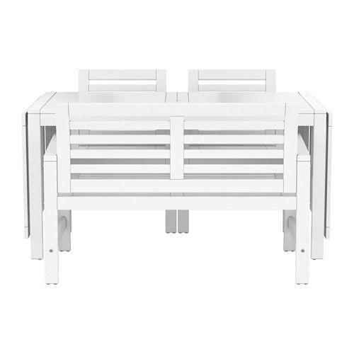 ÄPPLARÖ Bord+2 stole armlæn+bænk, ude - hvid - IKEA