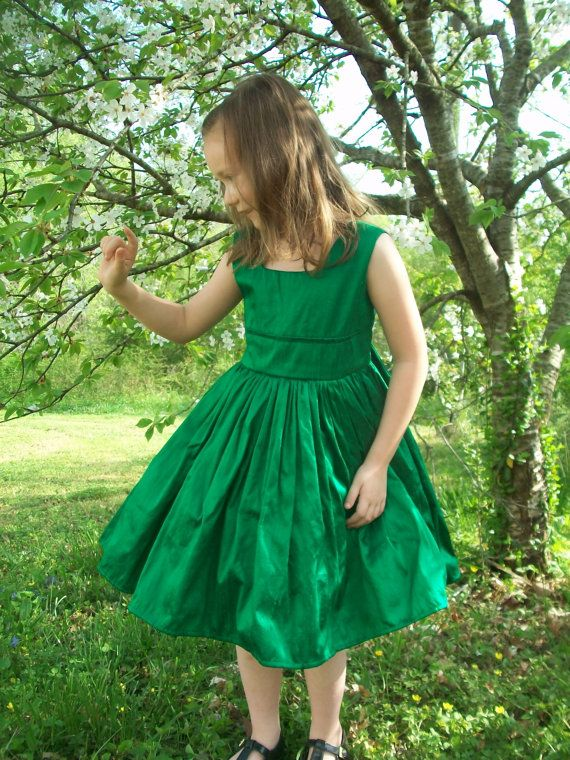 Emerald Green Silk Flower Girl Christmas Party by mapletree2000 ...