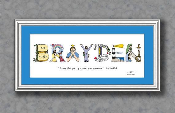 Baby Boy Baptism Gift Personalized Baby Boy Gift 10x20 Matted Print Personalized Christian Gifts From The Christian Alphabet First Communion Gifts Baptism Gifts For Boys Gifts For Boys