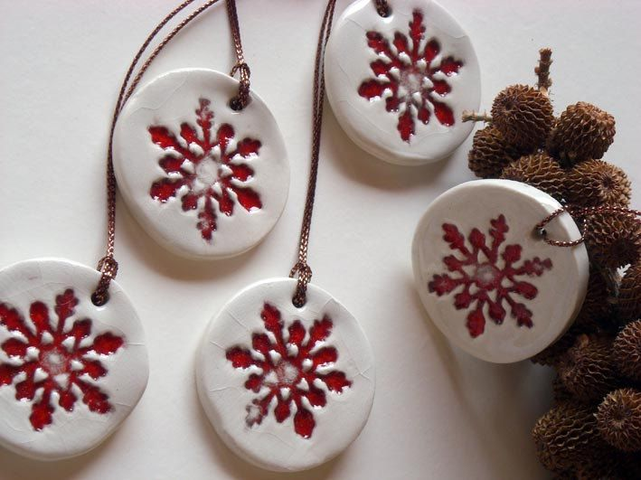 Ceramic Christmas ornament red and white, set of  five , home decor, gift tags. , via Etsy.