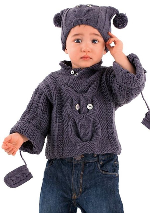 Free Knitting Pattern For Baby Owl Sweater Hat And Mittens Set