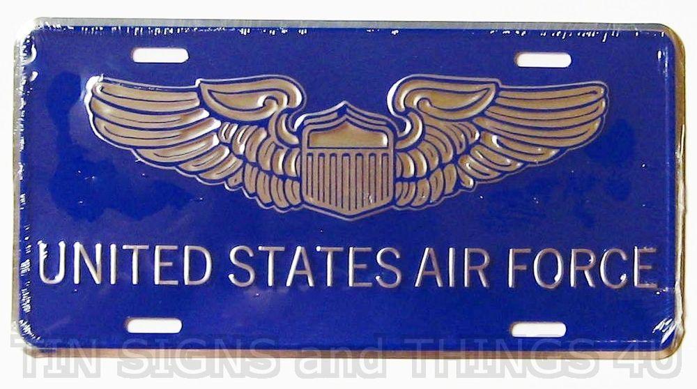 United States Air Force PILOT wings LICENSE PLATE car tag US badge metal sign