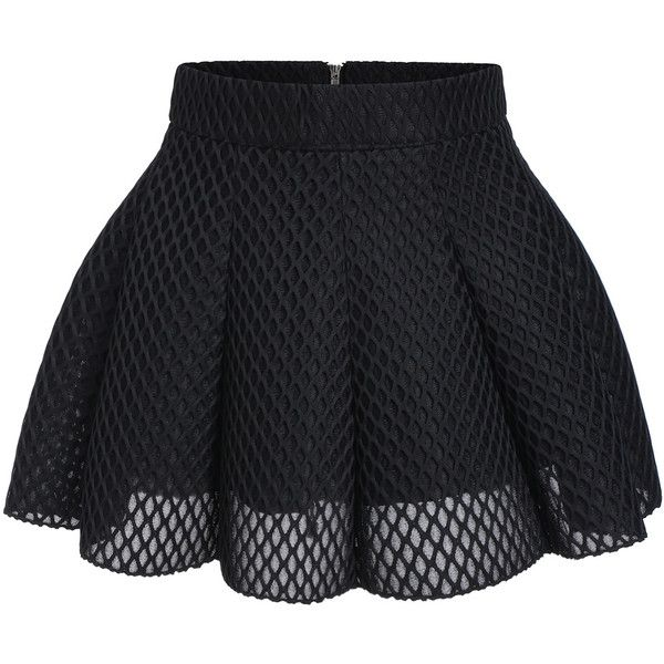 21f76648be0c6 Black Mesh Flare Mini Skirt (58 ILS) ❤ liked on Polyvore featuring skirts