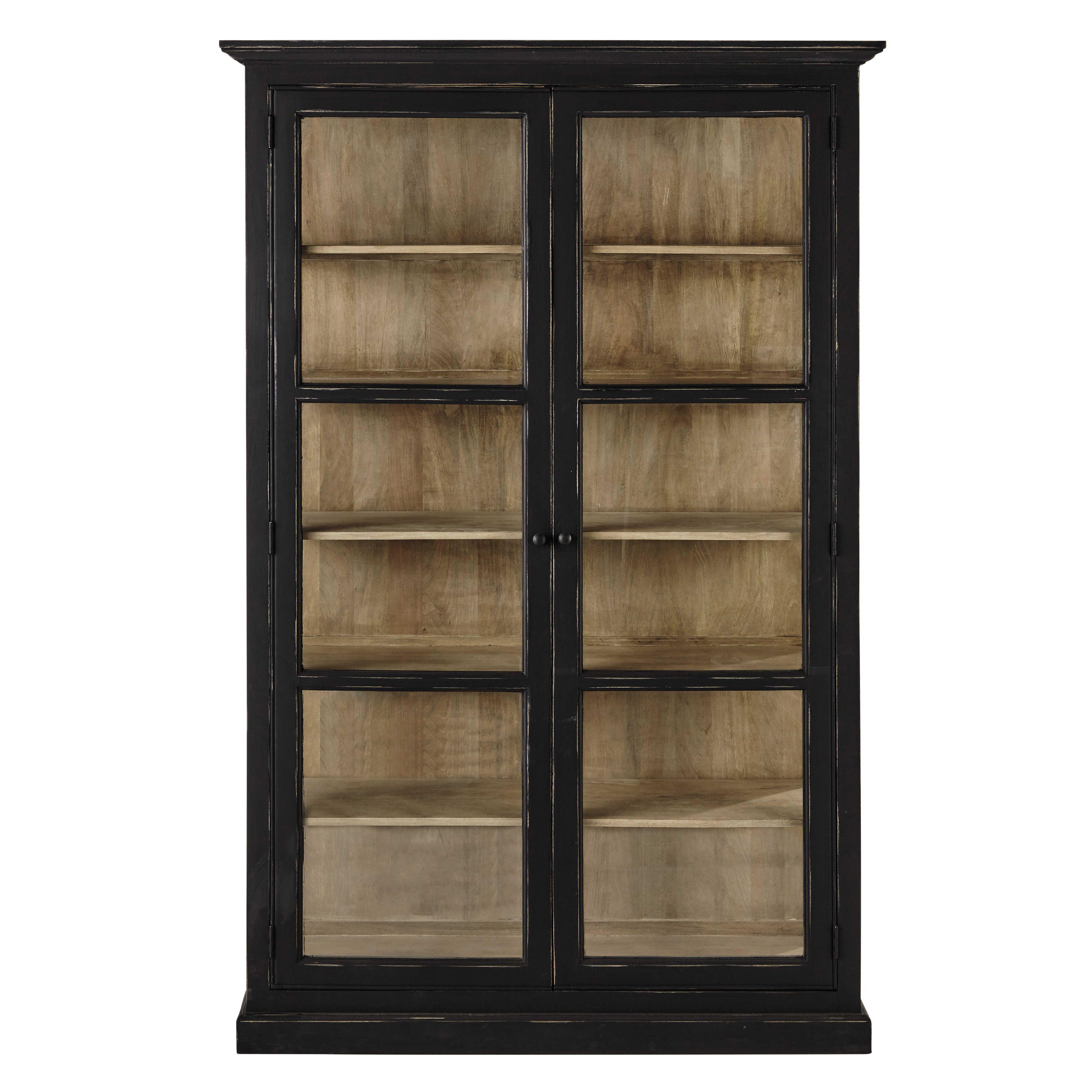 vitrine en manguier noire mat l 135 cm noir mat mate et vitrines. Black Bedroom Furniture Sets. Home Design Ideas
