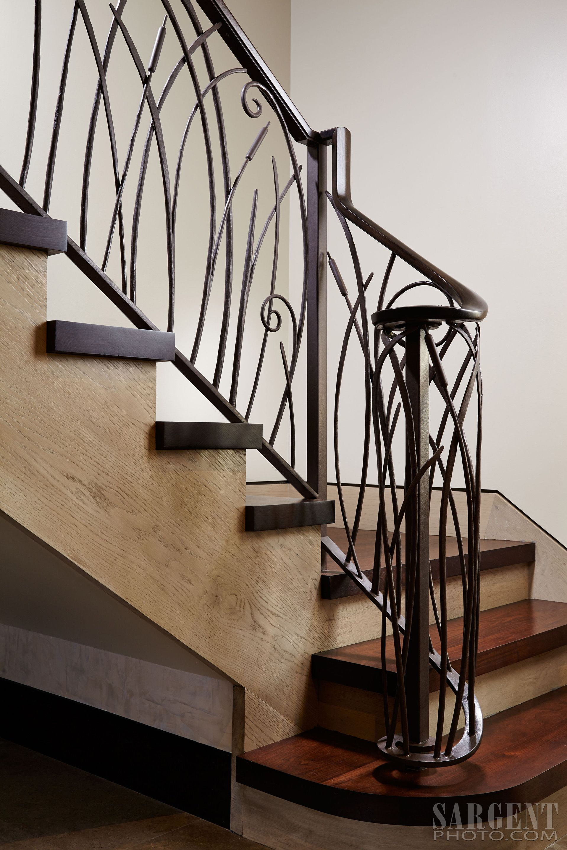 Custom Iron Stair Railing, Contemporary Cat Tail Stair Rail Design. Two  Toned Stairs,