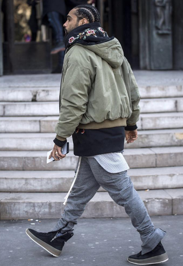 Jerry Lorenzon in Fear of God sneakers Mens street style  Mens street style