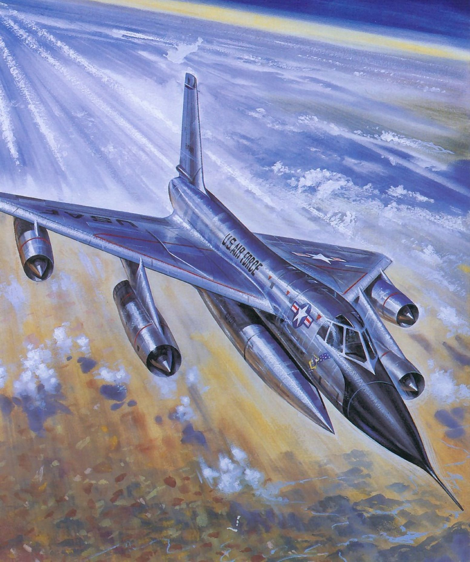 US JET INTERCEPTING RUSSIAN BOMBWE PAINTING MILITARY HISTORY ART CANVAS PRINT