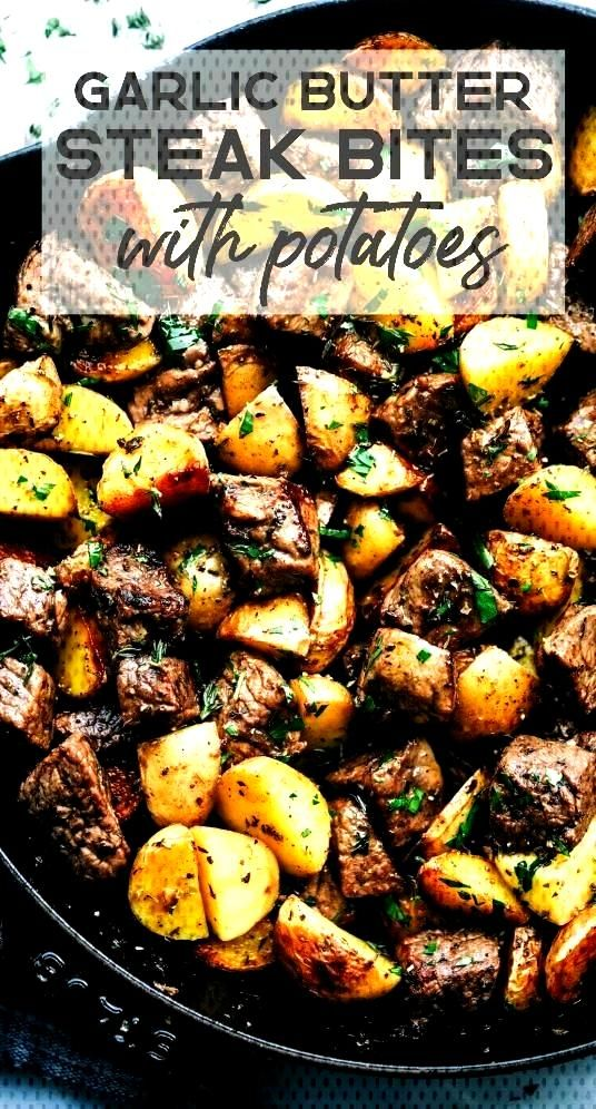 Butter Herb Steak Bites with Potatoes | The Recipe Critic -Garlic Butter Herb Steak Bites with Pota