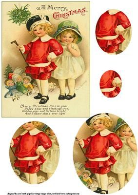 a vintage christmas oval pyramid sheet with two children posing in their Sunday best with their toys, the words on the topper say Merry Christmas time to you, happy days and blessings true, golden joys and fortune bright, and a heart that's ever light. thank you for looking please take a peek at my other items