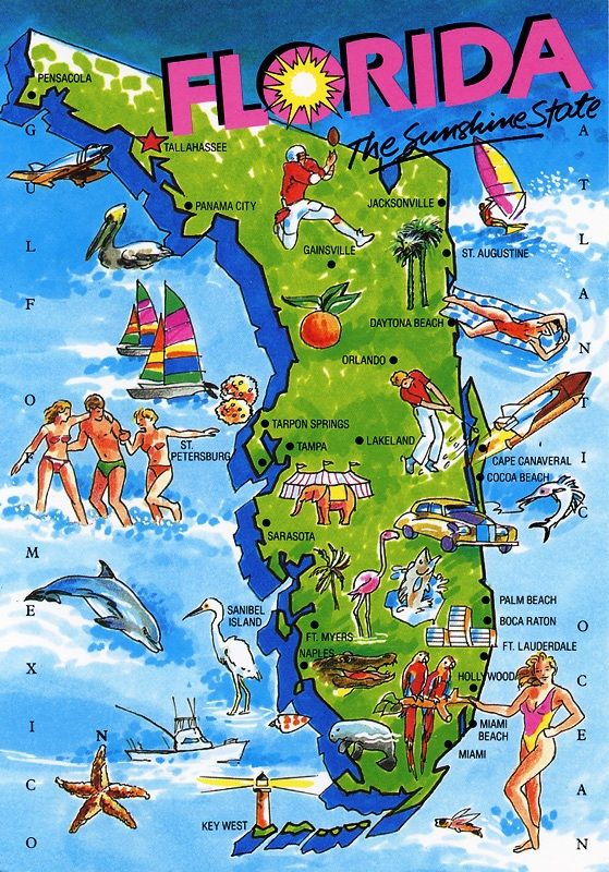Florida Attractions Map.Map Of Florida Mapofflorida Map Florida Floridian Kamisco