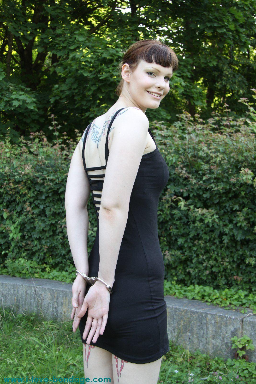 Woman Handcuffed Walk Handcuffs T