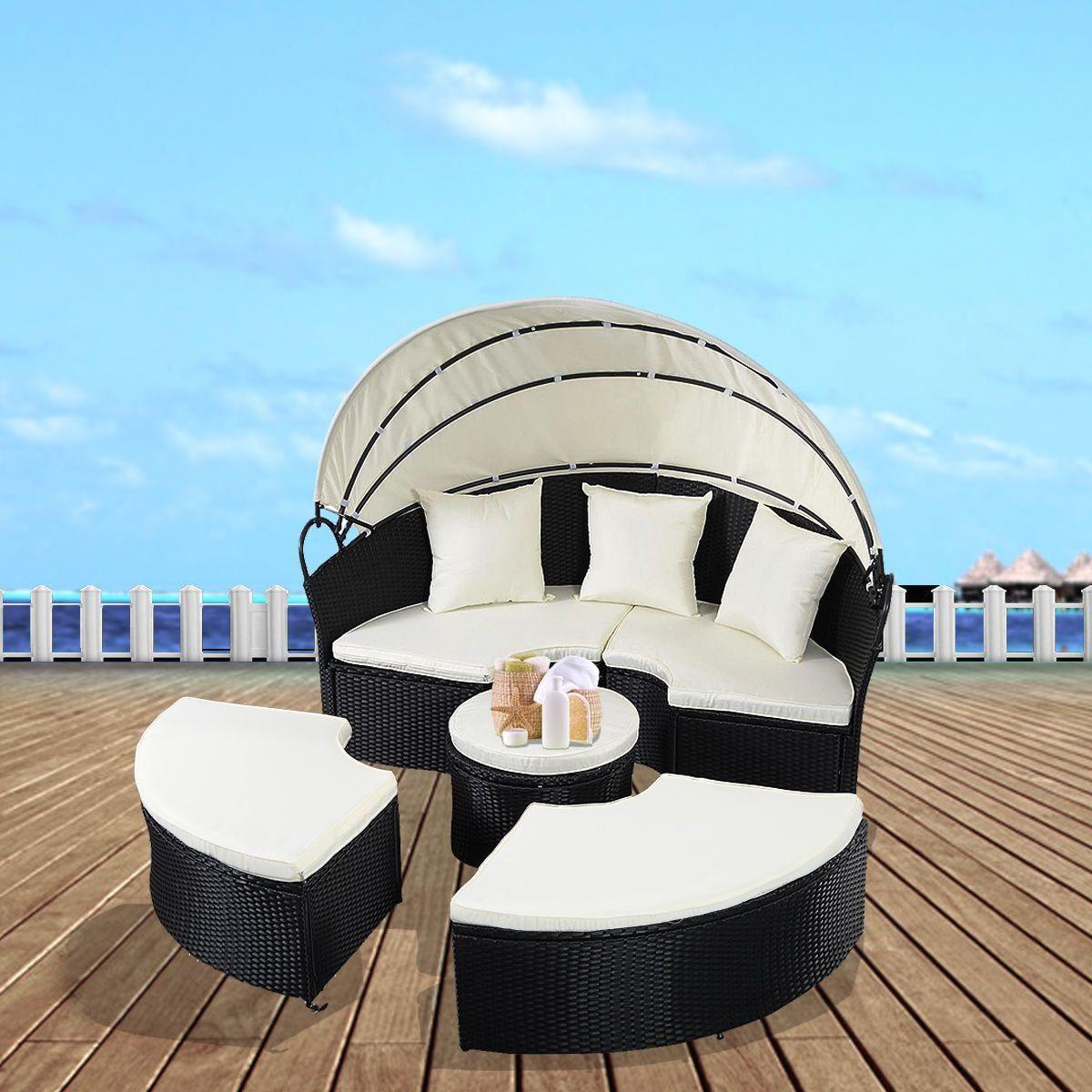 Costway Daybed Patio Sofa Furniture Round Retractable