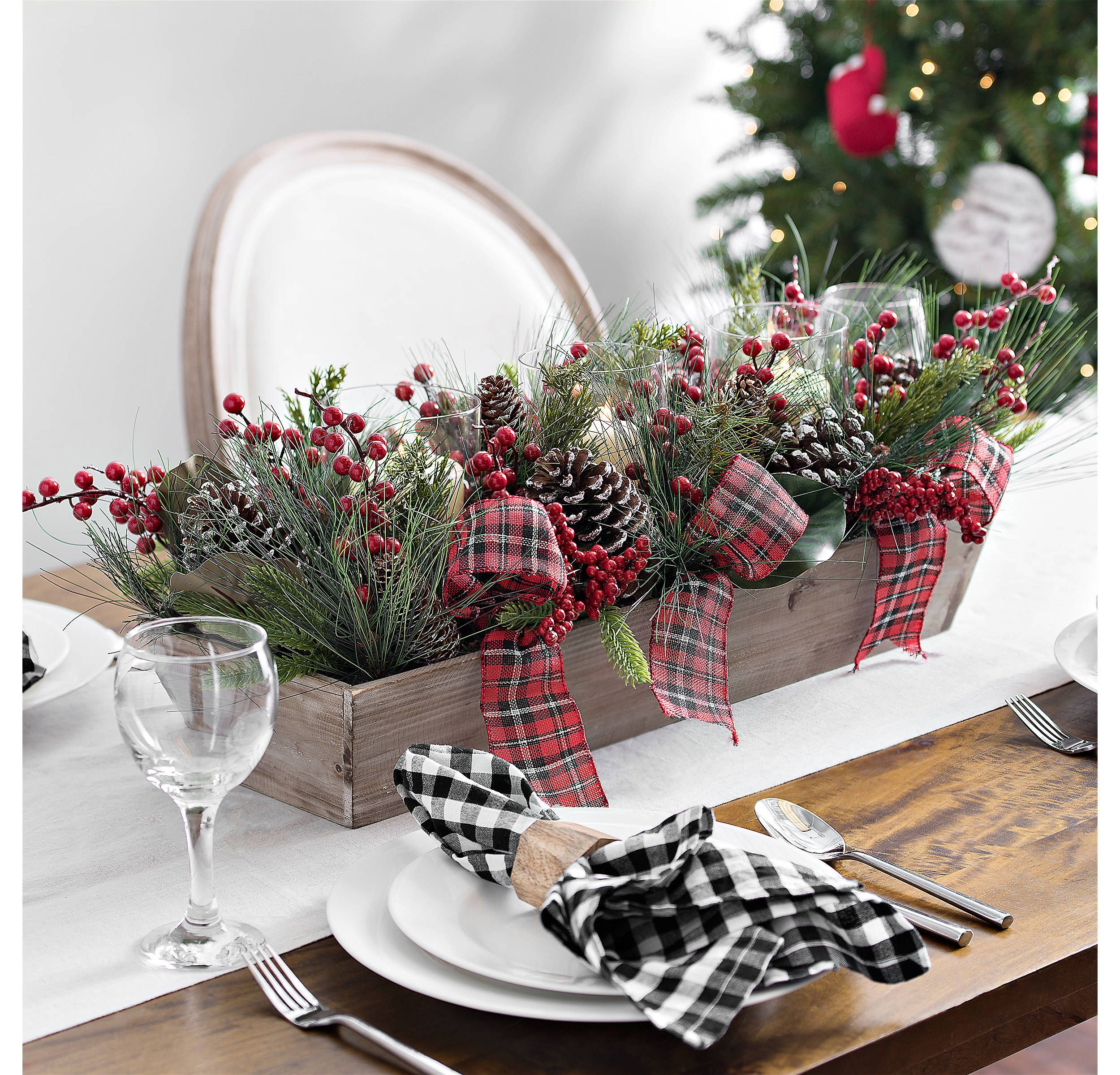 Pine And Plaid Bow Crate Centerpiece Kirklands Christmas Centerpieces Christmas Table Decorations Christmas Table Centerpieces
