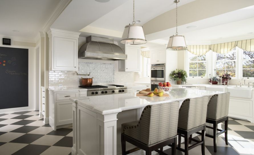 white-kitchen-with-marble-features-and-island-counter-chairs - Home Decorating Trends - Homedit