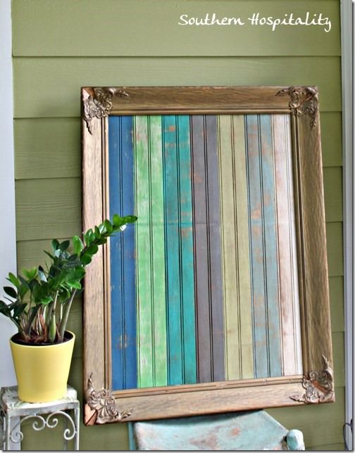 Framed And Painted Beadboard Outdoor Art Southernrhoda Diy Furniture Projects Wood