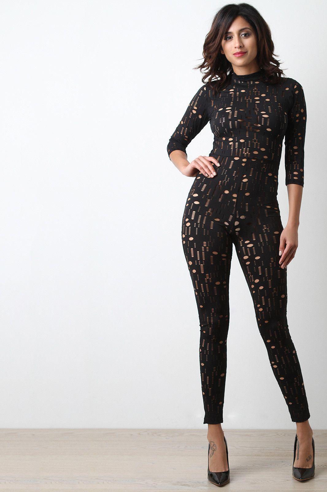Laser cut mock neck jumpsuit mariana dresses pinterest laser