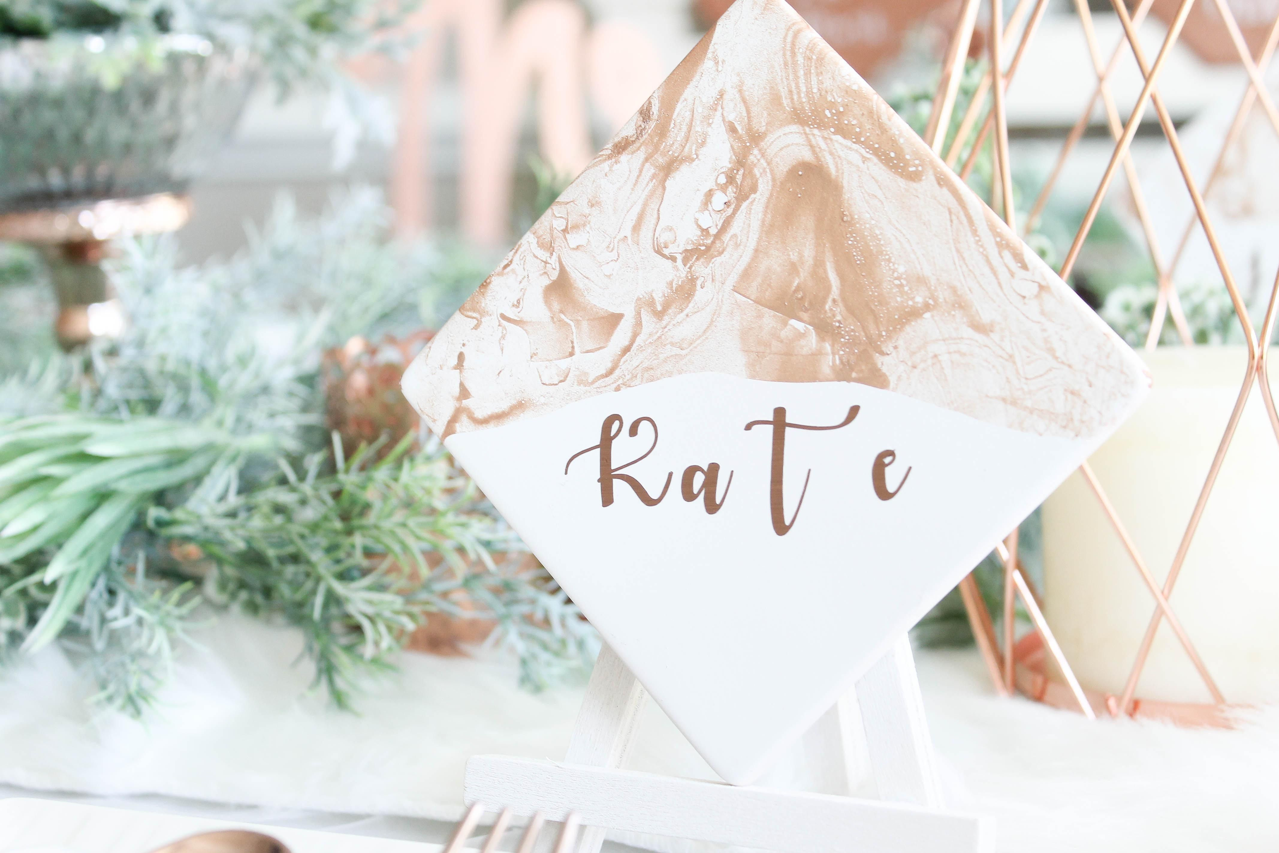 winter white & copper wedding place setting coaster place card ...