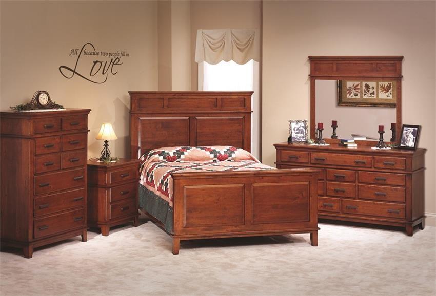 Amish Monterey Shaker Five Piece Bedroom Furniture Set In Rustic