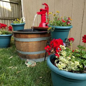 1 2 Wine Barrel Fountain Old Fashion Water Pump With Not