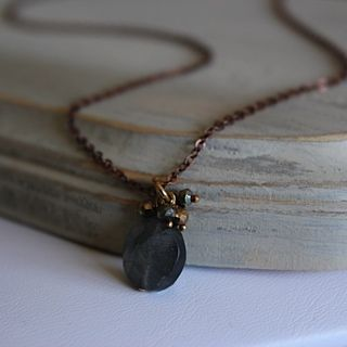 Lovely #labradorite delicate #necklace on #copper chain from Kathy Gaiser Jewels. www.facebook.com/kathygaiserjewels