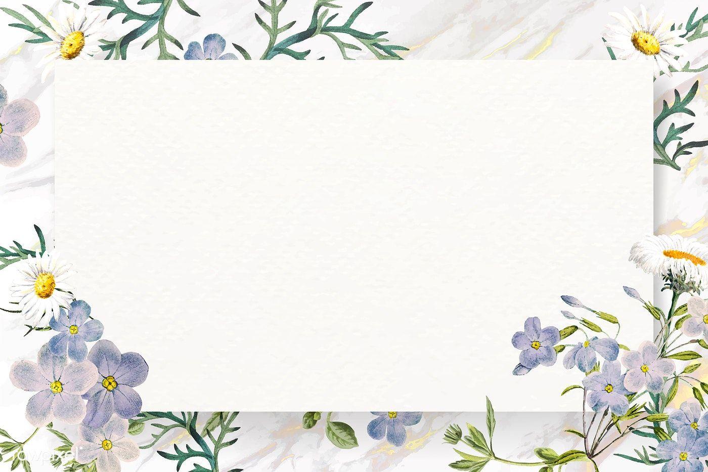 Download Premium Vector Of Blank Floral Rectangle Frame Vector 1208787 Flower Background Wallpaper Flower Frame Watercolor Pattern Background