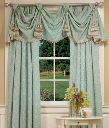 Yorkshire Victory Swag - This graceful and elegant geometric pattern captures the fretwork furniture motifs of Chippendale chairs, made iconic in the 18th century. The valance features coordinating rope trim. Just redid the kitchen with this window treatment in black.Love Country Curtains!
