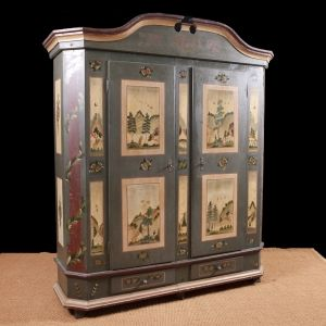 Antique German Painted Marriage Armoire in Original Paint, c.1823