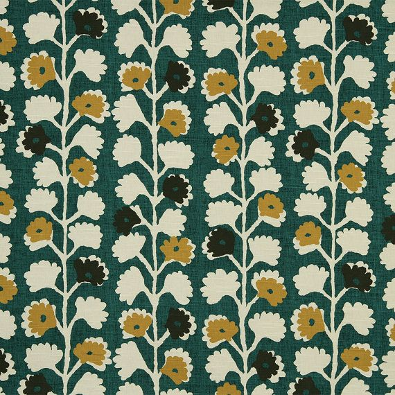 Emerald Green Abstract Floral Upholstery Fabric For