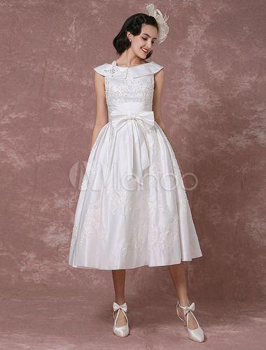 Boda vestido satén vestido de novia corto encaje apliques rebordear ...