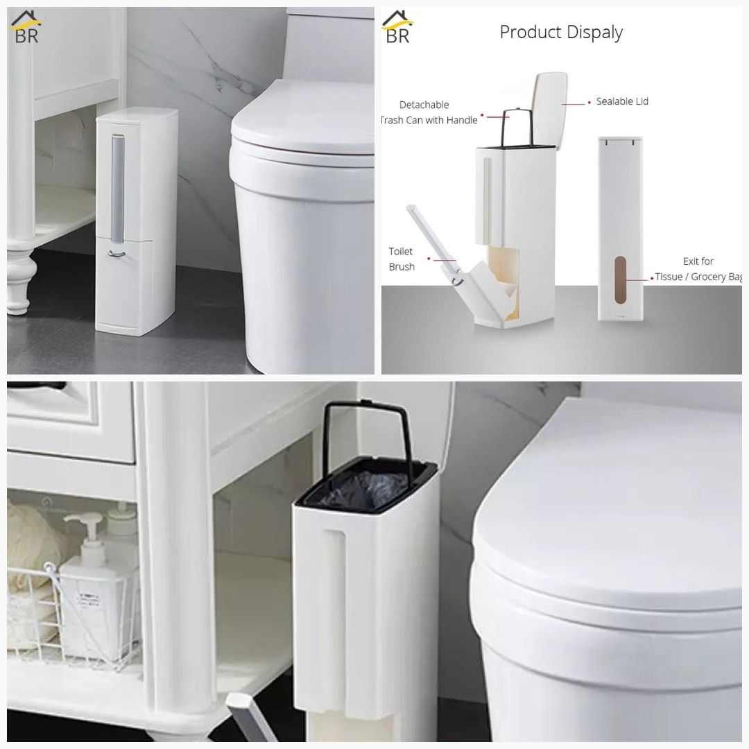 Plastic Trash Can With Toilet Brush Set