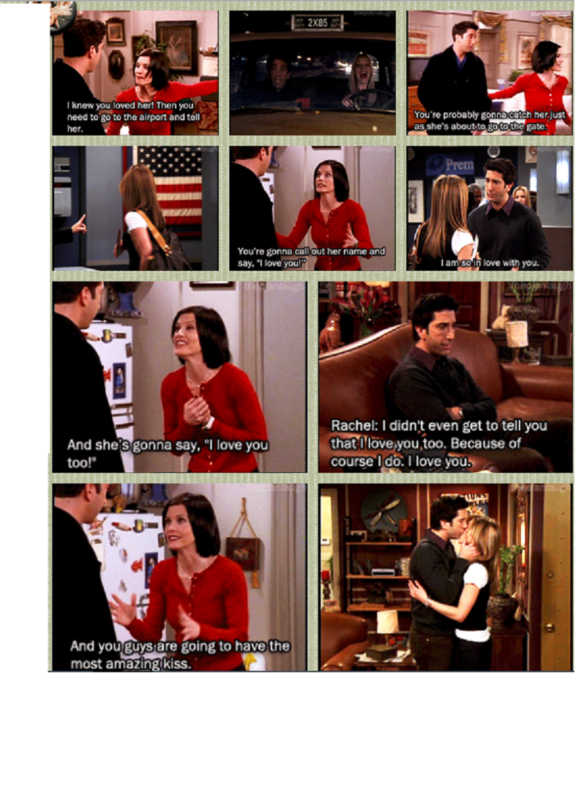 Monica's speech to Ross about Emily is a perfect dialogue for what happens with Rachel <3