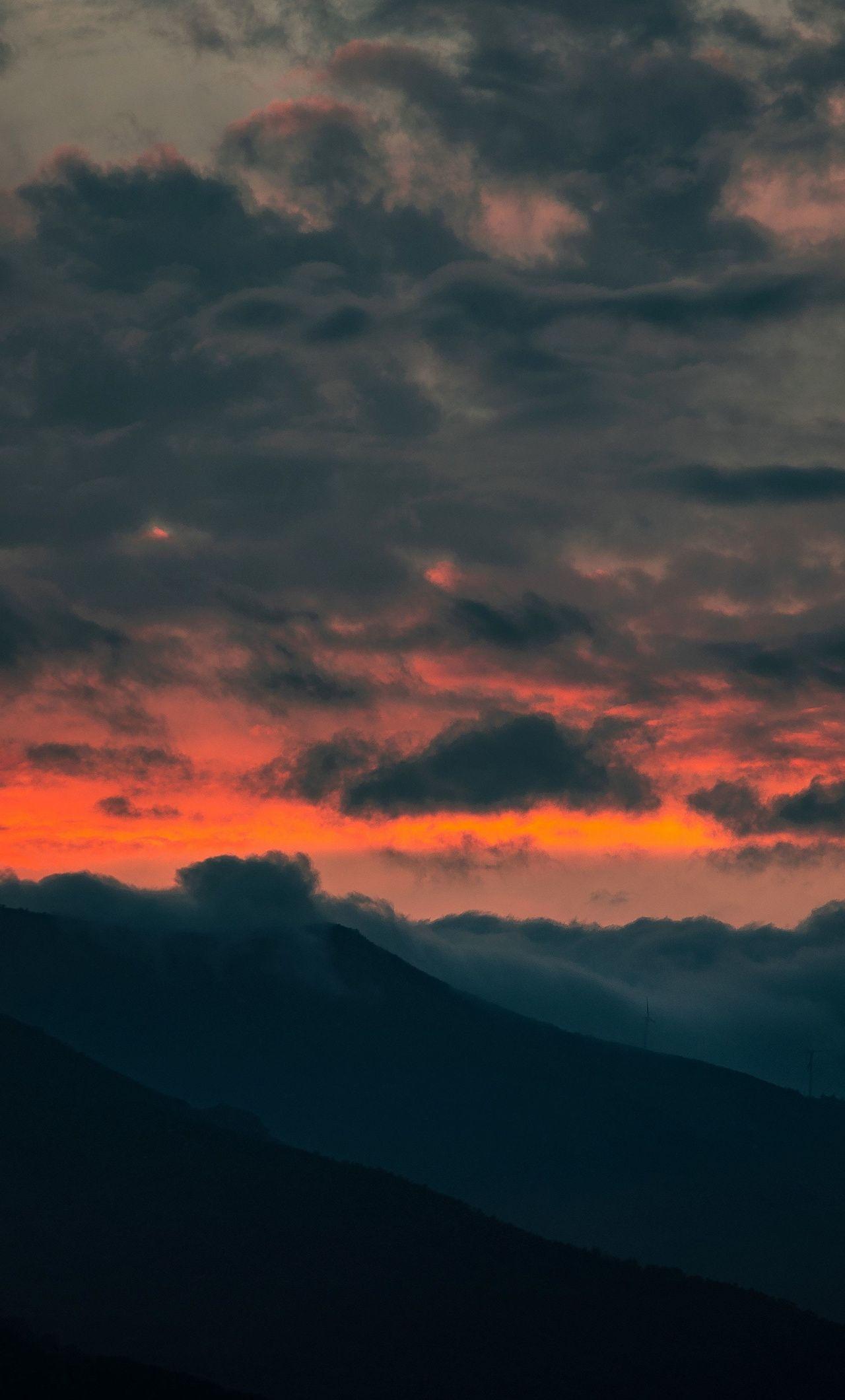 Clouds Dark Horizon Sky Hills 1280x2120 Wallpaper With