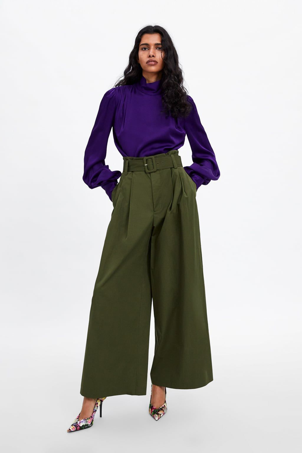 2ece80d0 High Waisted Wide Leg Pants Zara