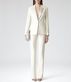 Womens Cream High-waisted Trousers - Reiss Michelle | STYLE ...
