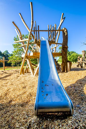 Slide and fort, part of Stick Man play trail at Weald Country Park