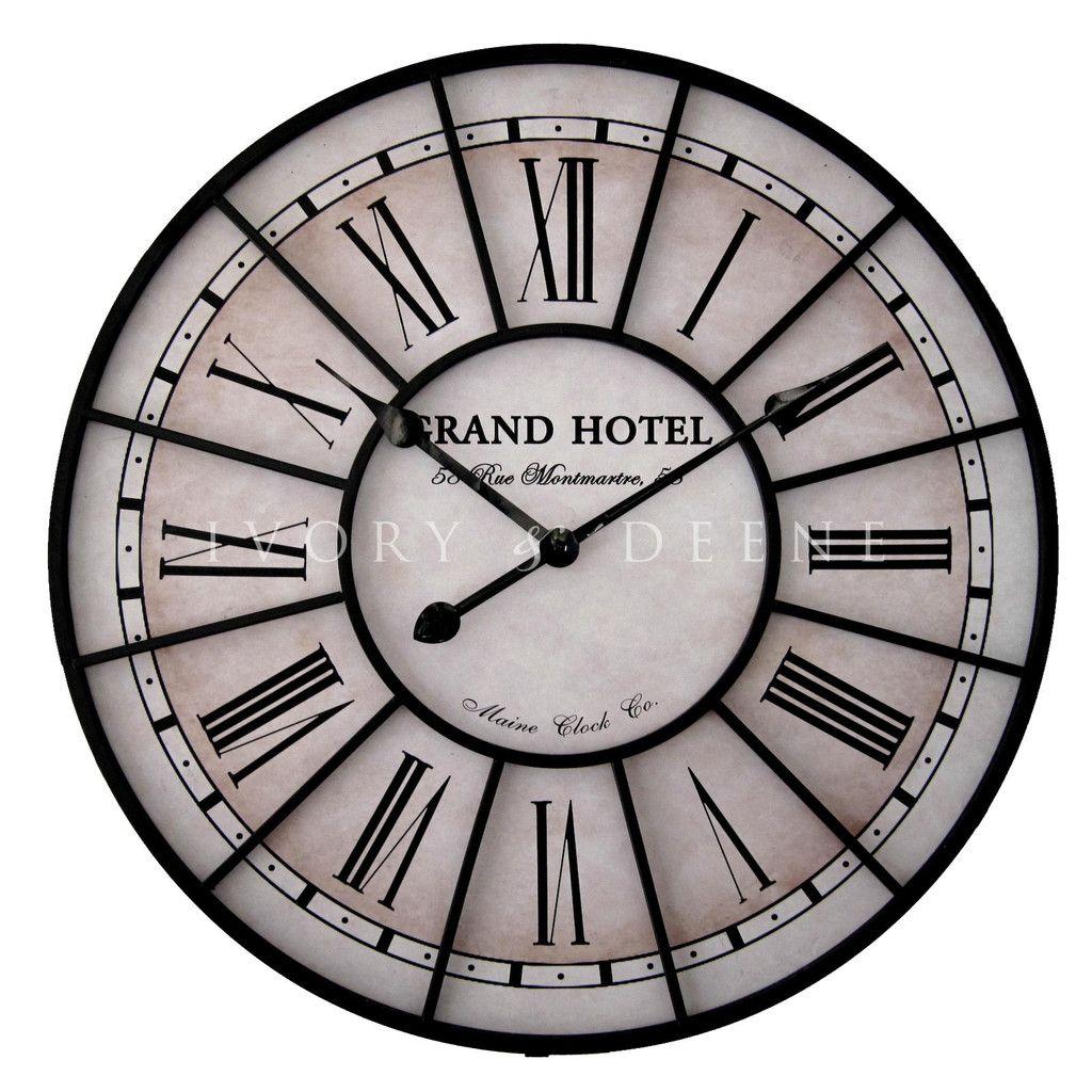 Large 60cm Grand Hotel Paris Metal Wall Clock Large Metal Wall Clock Metal Wall Clock Wall Clock