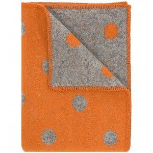 Pompom Orange & Grey Reversible Wool Blanket
