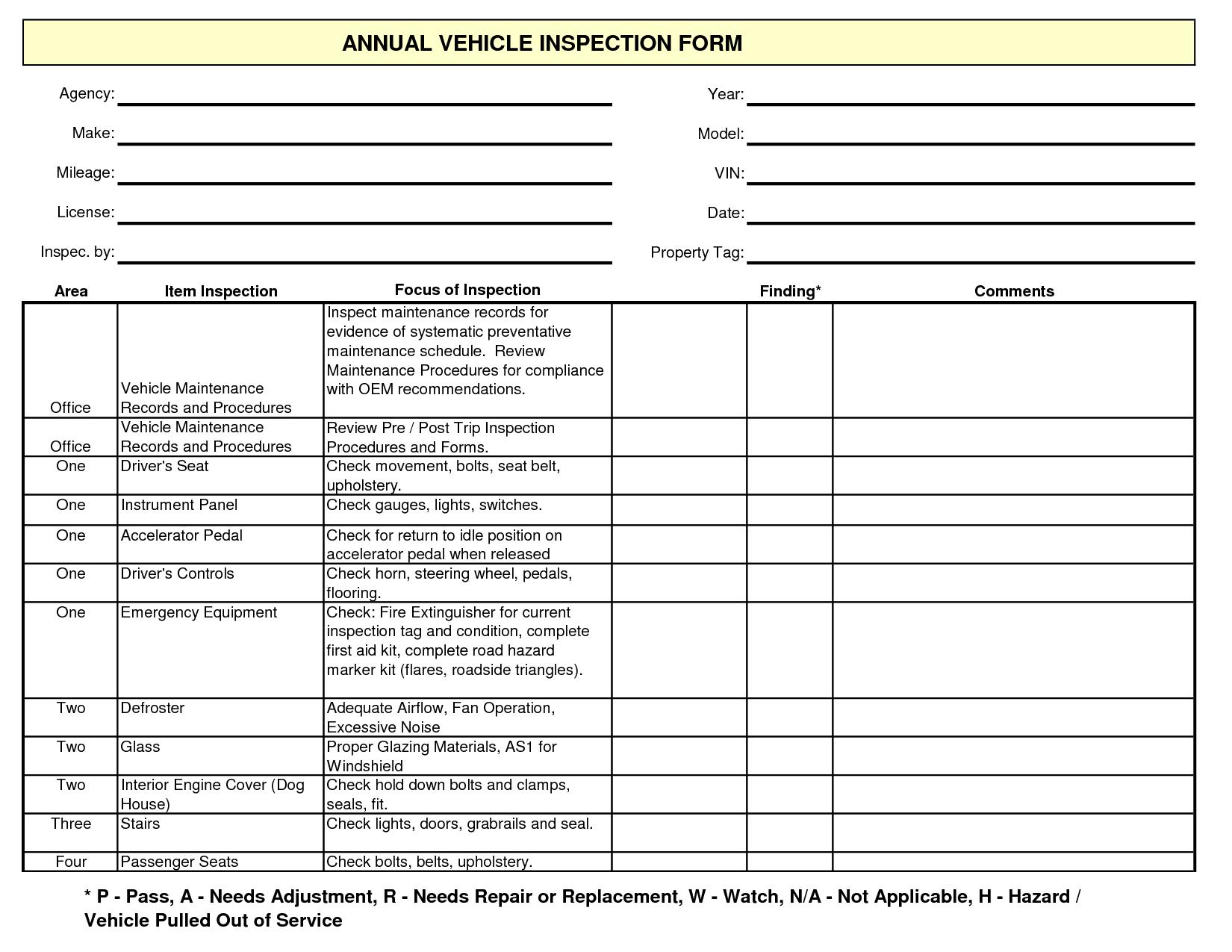 Free Vehicle Maintenance Form Template Car Repair Garages