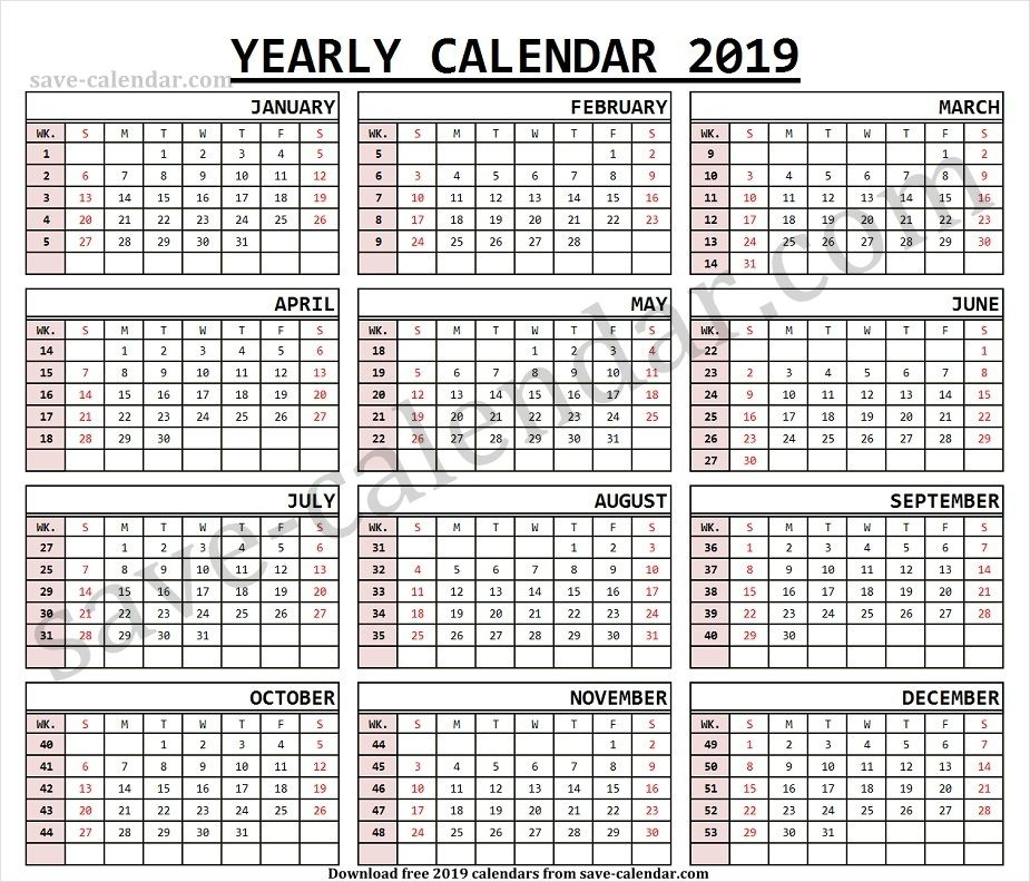 2019 Calendar By Week Numbers Template Printable Calendar With