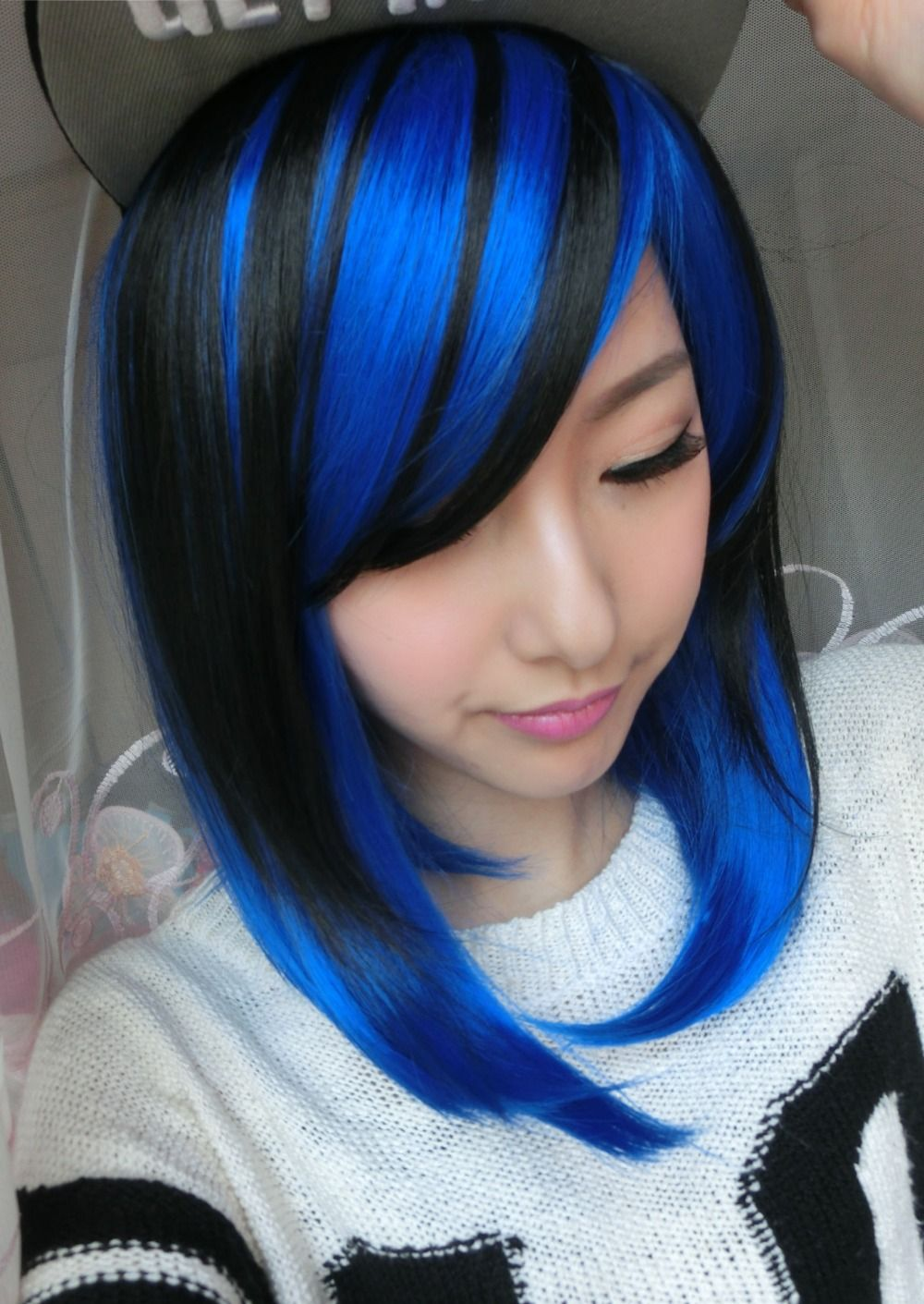 For Women Two Tone Synthetic Hair 36cm Short Font B Black B Font Mixed Font B Jpg 1000 1 Blue Hair Highlights Blonde Hair With Blue Highlights Royal Blue Hair