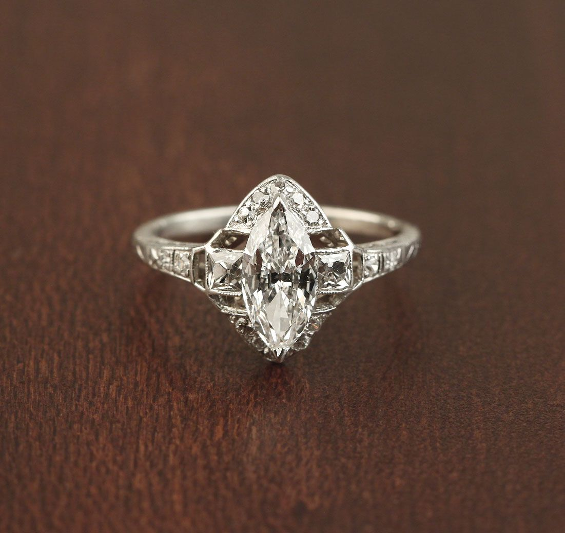 Stunning Art Deco Marquise Diamond Ring Rare French Cut Side Diamonds Platinum: Art Deco Jewelry Wedding Rings At Websimilar.org