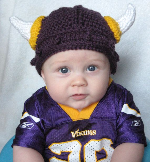 01b9ec53e16 Crocheted Viking Helmet Minnesota Vikings Version by NiftyNursery ...
