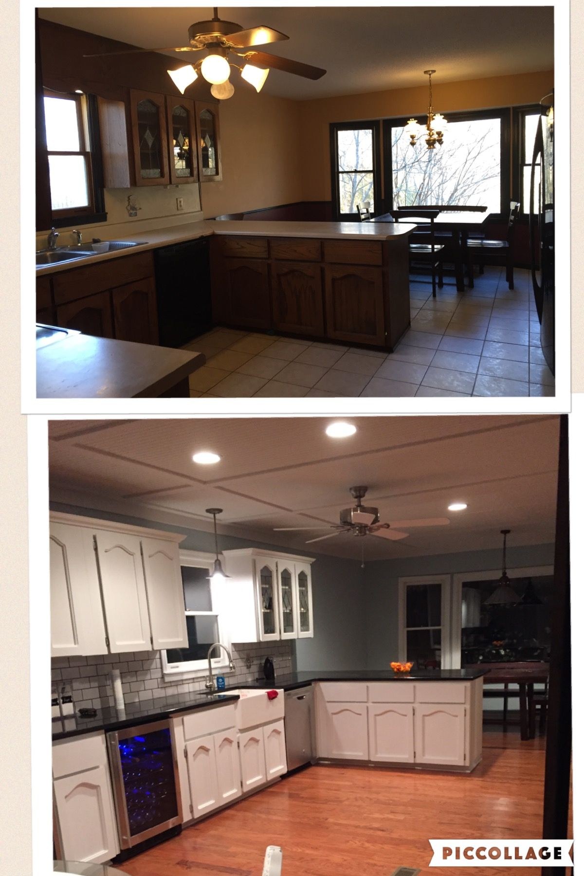 before and after pictures of my kitchen remodel we had the old cabinets painted and removed the on kitchen cabinets painted before and after id=31216