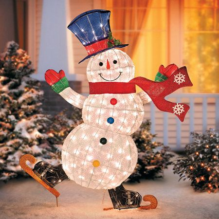 Lighted Skating Snowman Outdoor Christmas Decoration Diy Christmas Snowman Snowman Christmas Decorations Christmas Decorations