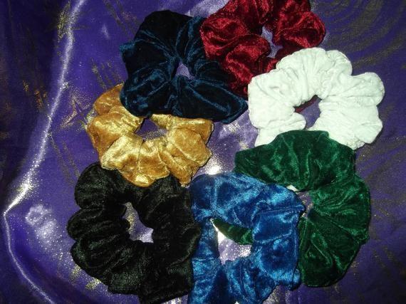 Crushed Velvet Hair Scrunchies,White hair scrunchie,dark blue hair scrunchie,dark green hair scrunch #hairscrunchie