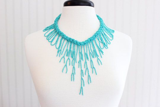 Turquoise Seaweed Beaded Necklace by AzureaStudio on Etsy