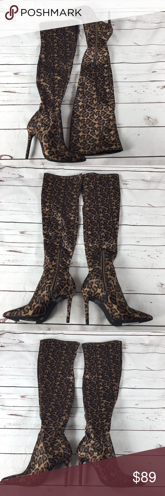 99d0af0b207 Sexy Leopard Print Over The Knee Boot J. Simpson NWT