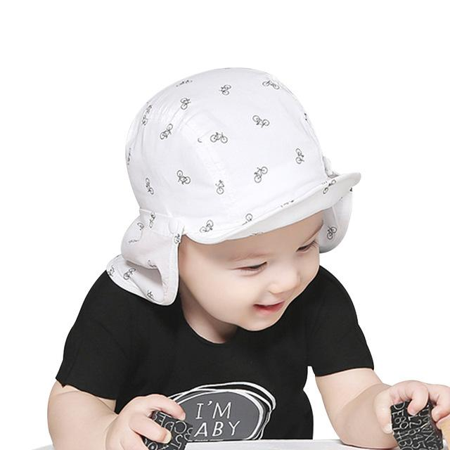 ce0c99f5 Baby Sun Caps Cotton Neck Protect Girls Boys Caps Breathable Sun Girls Hats  Bicycle Print Baby Beach Hats Baby Accessories