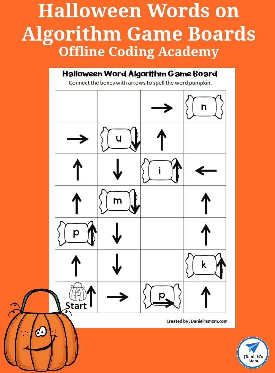 Offline Coding Academy Halloween Words On Algorithm Game Boards Jdaniel4s Mom Halloween Words Early Learning Math Coding Academy [ 1222 x 900 Pixel ]